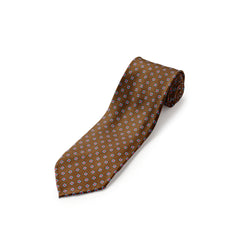 F.Marino luxury 3 fold silk brown square Foulard tie