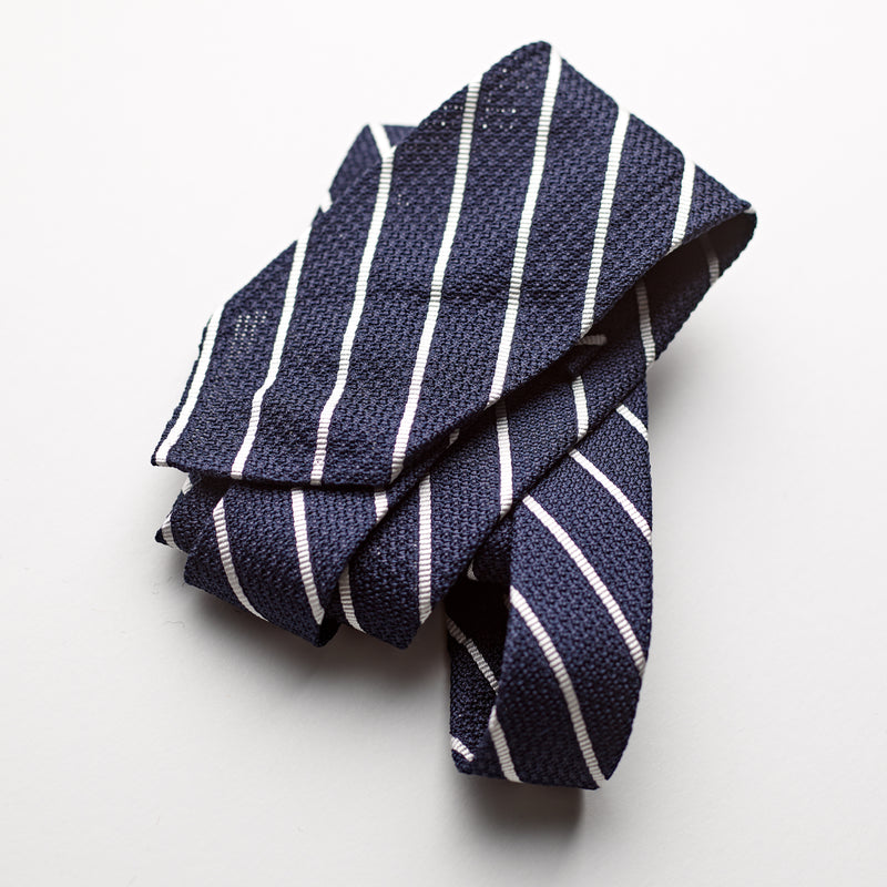 F. Marino 3 fold Luxury navy and and ecru striped grenadine silk tie