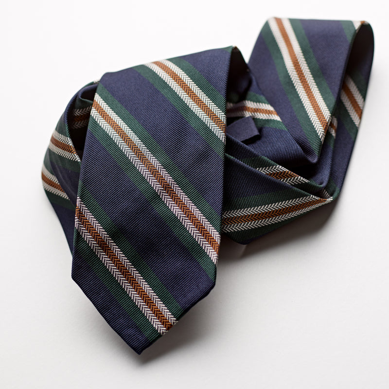 F.Marino 3 fold luxury 100% silk, Navy green and amber stripe