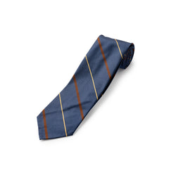 F.Marino 3 fold rich Navy, Burgundy and Gold Stripe Silk Tie
