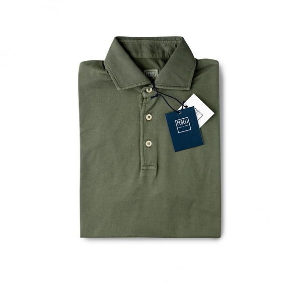 Fedeli Jersey Polo Shirt British Khaki