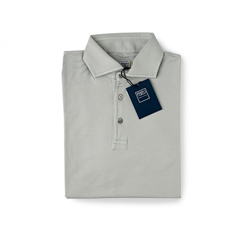 Fedeli Jersey Polo Shirt Olive Grey
