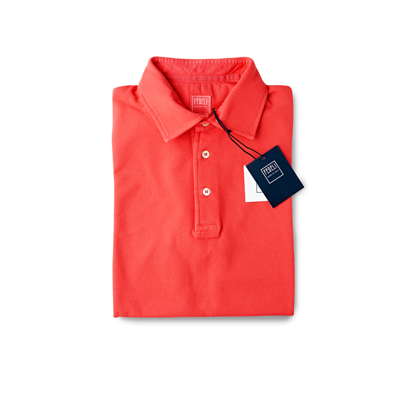Fedeli Classic Short Sleeve Knitted Pique Polo Shirt Beach Red