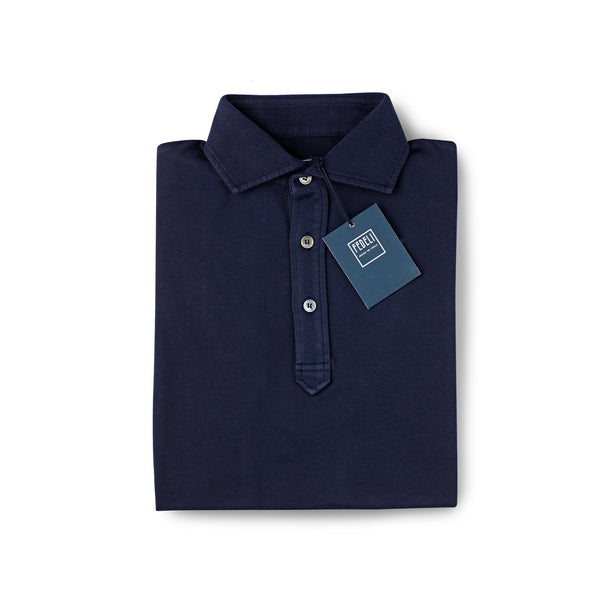 Fedeli Classic Short Sleeve Knitted Pique Polo Shirt French Navy