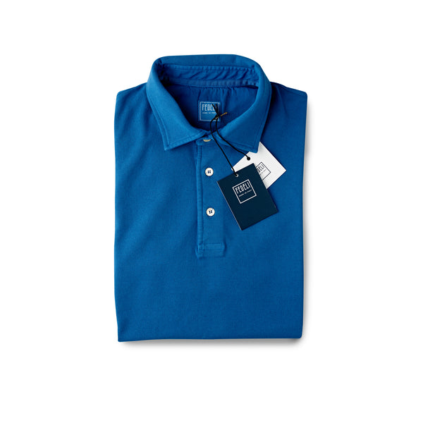 Fedeli Classic Short Sleeve Knitted Pique Polo Shirt Riviera Blue