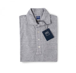Fedeli Chest Pocket Polo in Ringspun Jersey Heather Grey