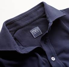 Fedeli Chest Pocket Polo in Ringspun Jersey Ocean Blue