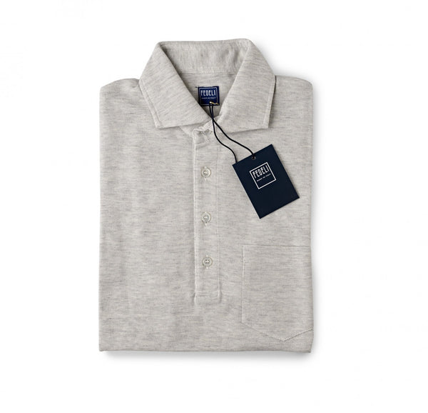 Fedeli Chest Pocket Polo in Ringspun Jersey Soft Grey
