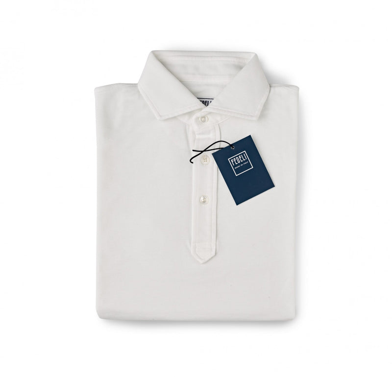 Fedeli Classic Short Sleeve Knitted Pique Polo Shirt Optic White