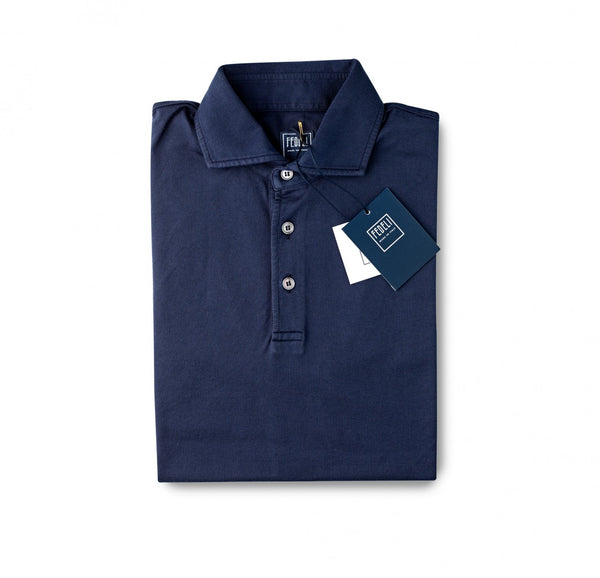 Fedeli Jersey Polo Shirt French Navy