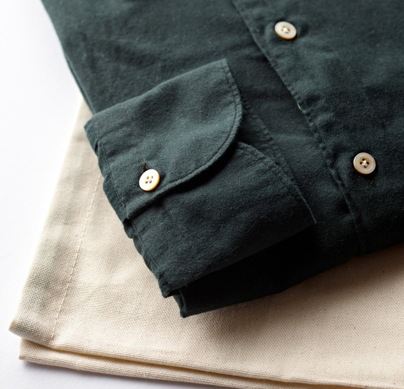 Finamore Cotton Flannel Forest Green Shirt