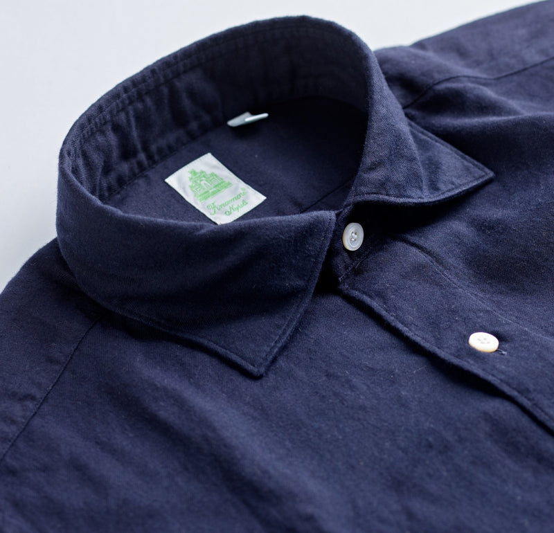 Finamore Cotton Flannel Navy Shirt