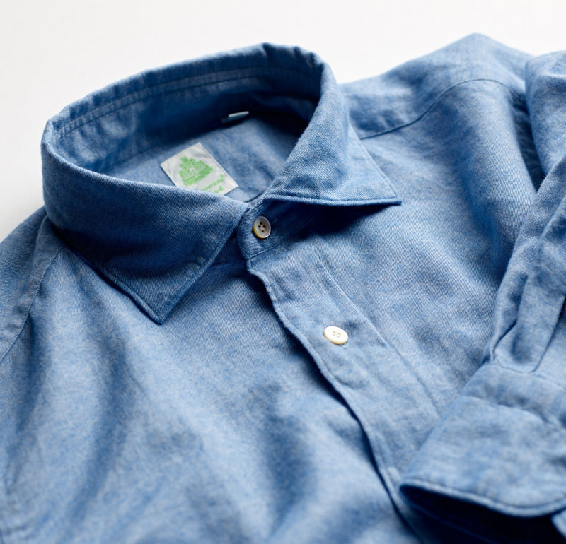 Finamore Cotton Flannel Sky Blue Shirt