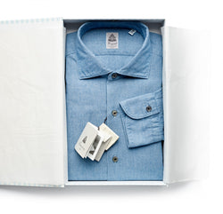 Finamore Mid Blue Chambray Shirt
