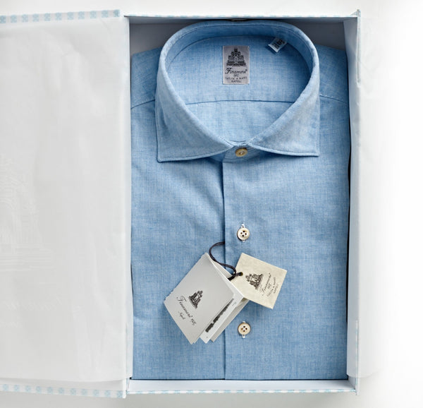 Finamore Pale Blue Chambray Shirt