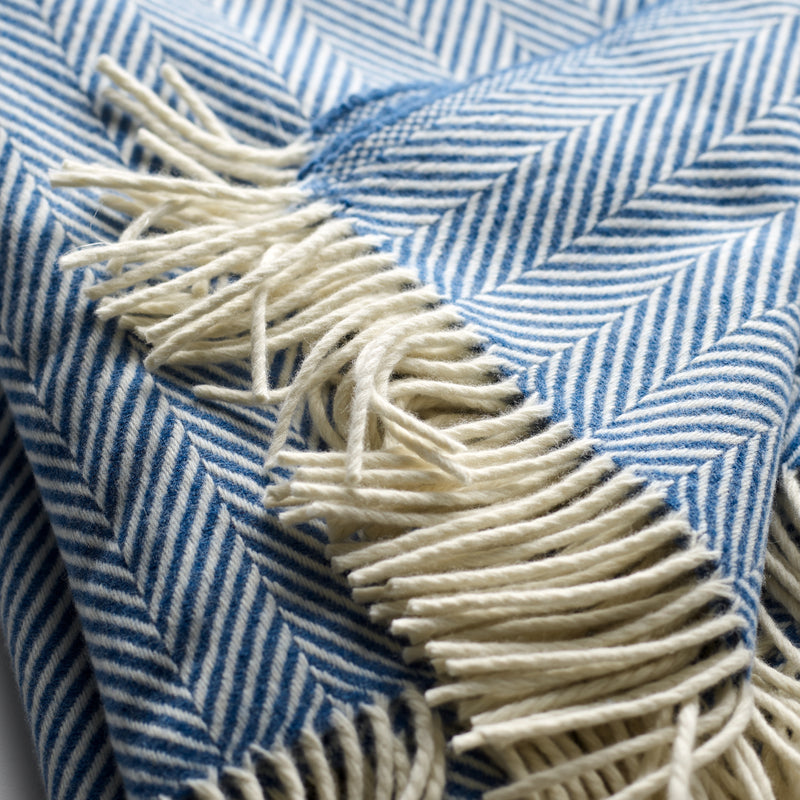 Fine Merino Fox Brothers Herringbone Blanket in Azure