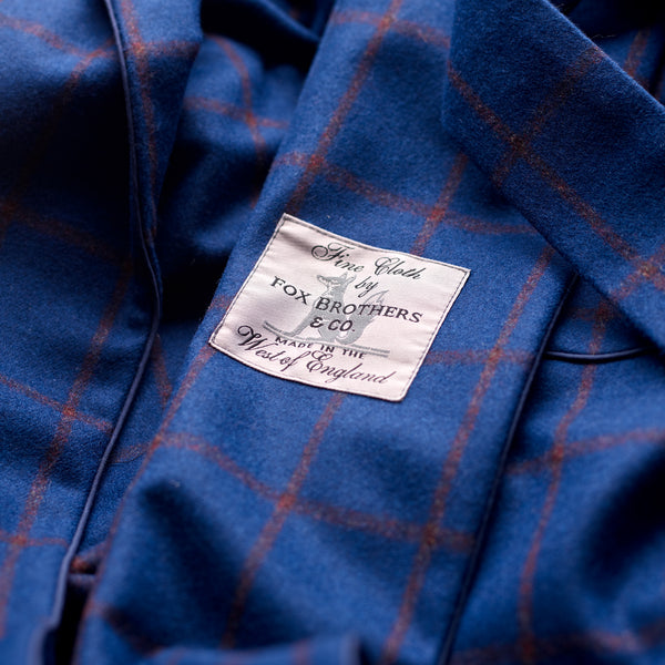 Fox Flannel Azure Blue with Brown Windowpane Lounge Gown