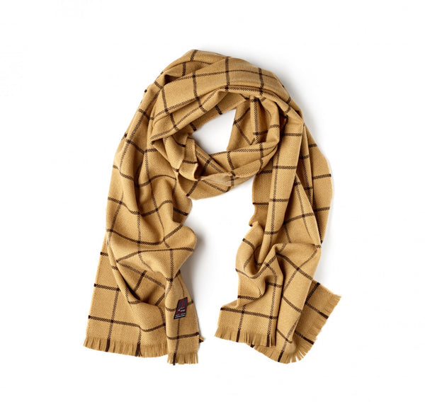 Fox Brothers Camel Windowpane Scarf