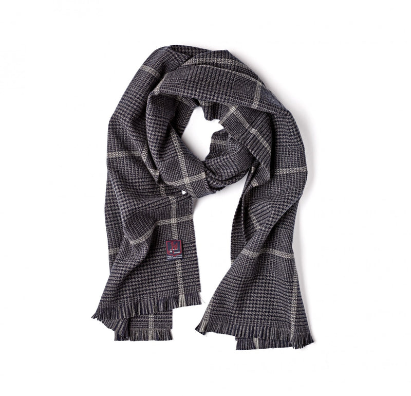 Fox Brothers Char-Navy Glen Check Scarf