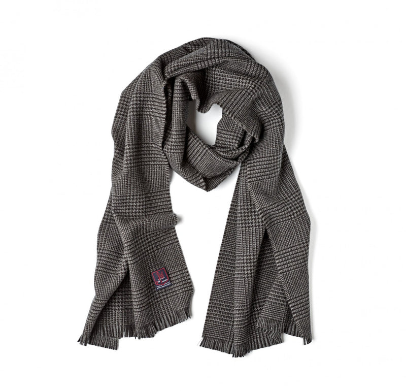 Fox Brothers Charcoal Prince of Wales Scarf