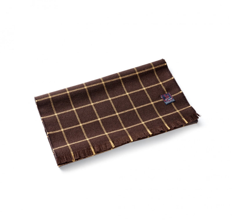 Fox Brothers Chocolate Windowpane Scarf