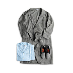 Fox Flannel Grey Windowpane Dressing Gown