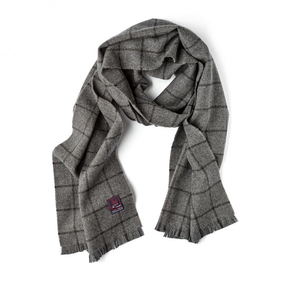 Fox Brothers Mid-Grey Windowpane Scarf