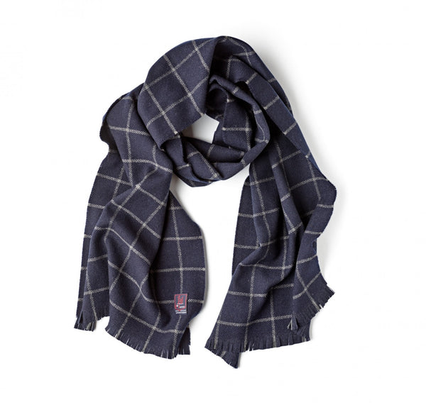 Fox Brothers Navy Windowpane Scarf