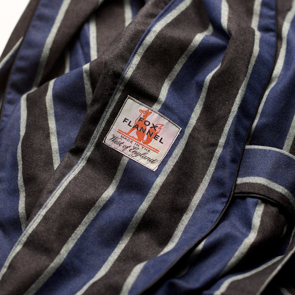 Limited Edition Fox Denim Blue and Charcoal Stripe Lounge Gown