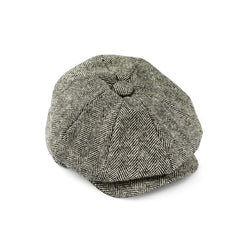 Fox-Tweed-Black-and-white-herringbone-30's-8-panel-cap