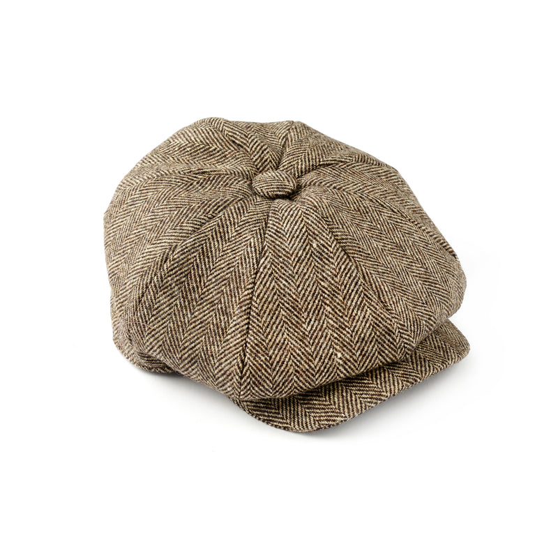 Fox-Tweed-Brown-Herringbone-8-panel-cap-100%-wool