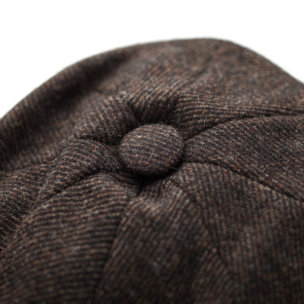 Fox-Tweed-100%-wool-30's-8-panel-cap-covered-button-at-crown-Brown-twill