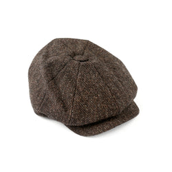 Luxury-Fox-Tweed-30's-8-panel-cap-100%-wool-brown-twill
