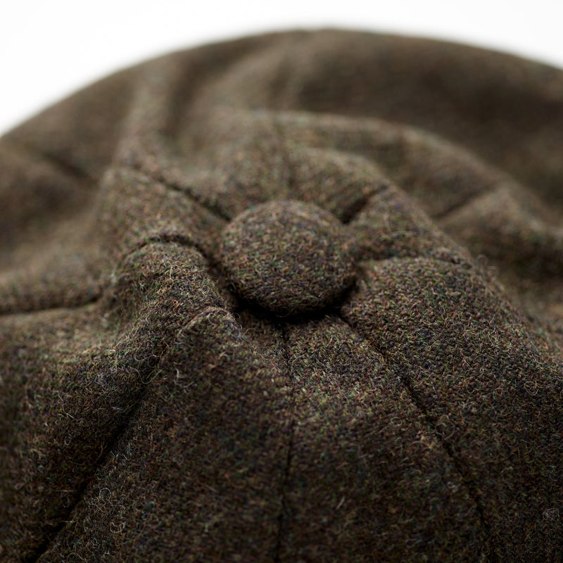 Luxury-100%-wool-Fox-Tweed-Covered-button-crown-8-panel-cap