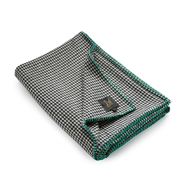 Fox Houndstooth Blanket with Green