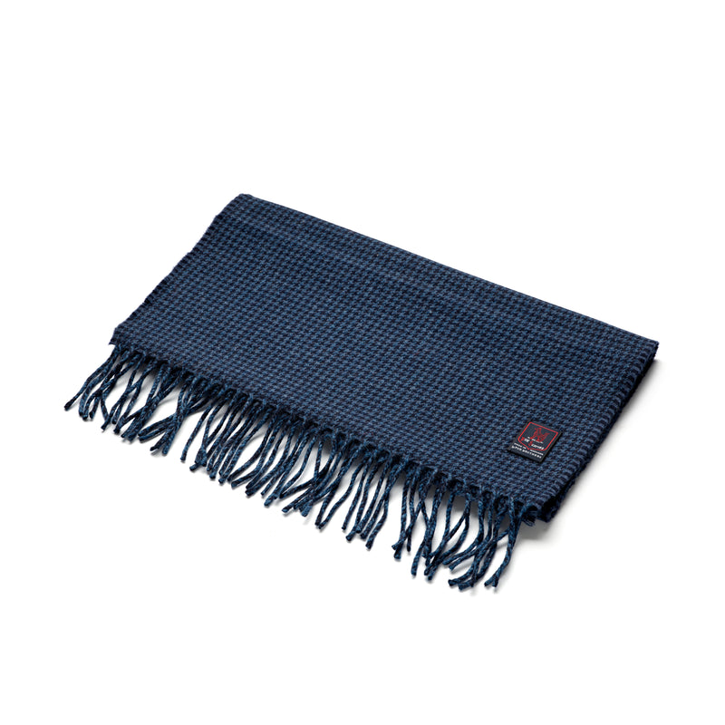 FoxBrothers-Luxury-51%-Cashmere-49%-Merino-Wool-Scarf-Navy-Houndstooth