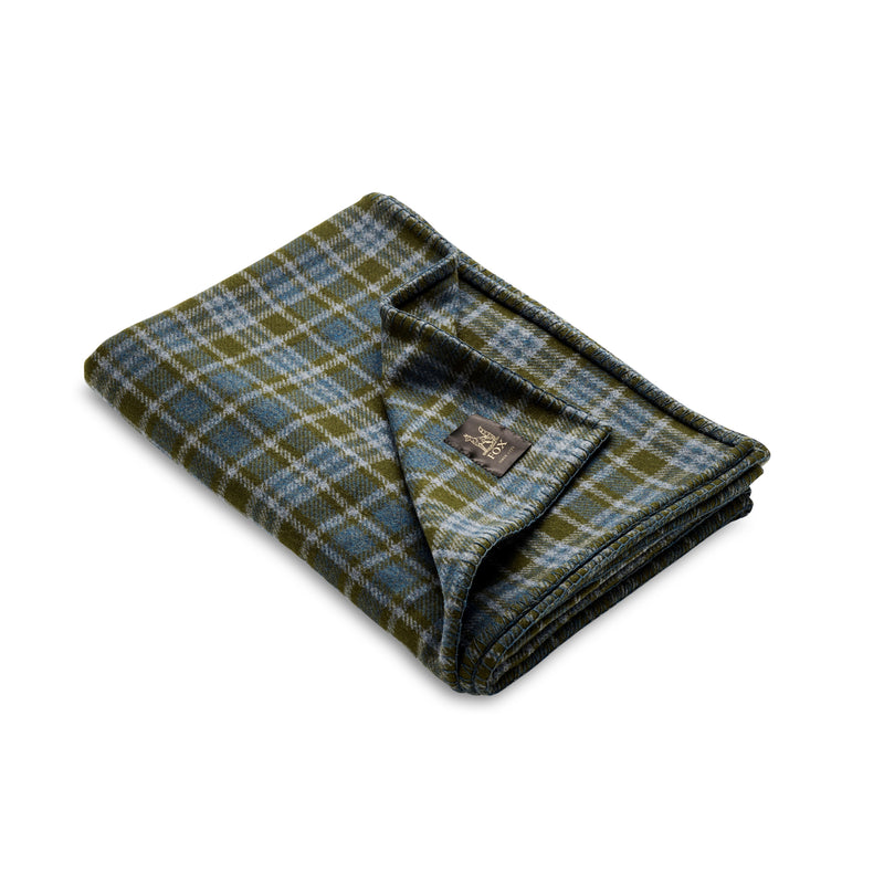 Fox Brothers Olive Heddon Blanket with Blue