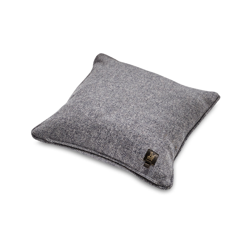 Fox Merino Diamond Weave Cushion in Char-Navy