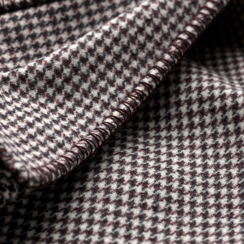 Fox Brothers Merino Houndstooth Blanket Beaujolais