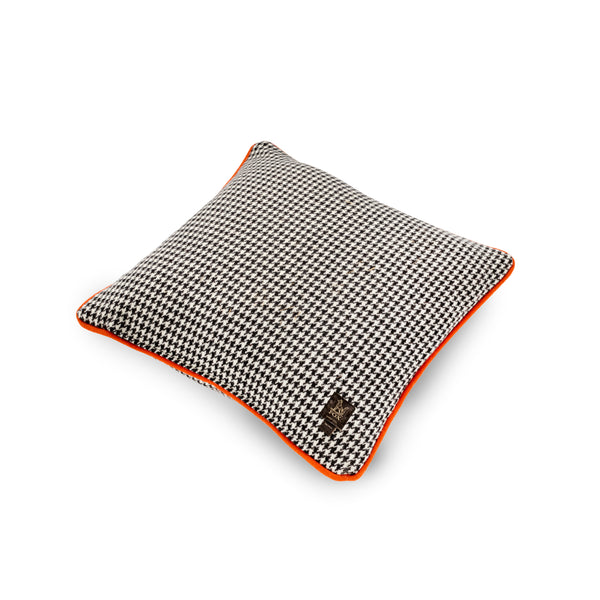 Monochrome Houndstooth with Orange Cushion