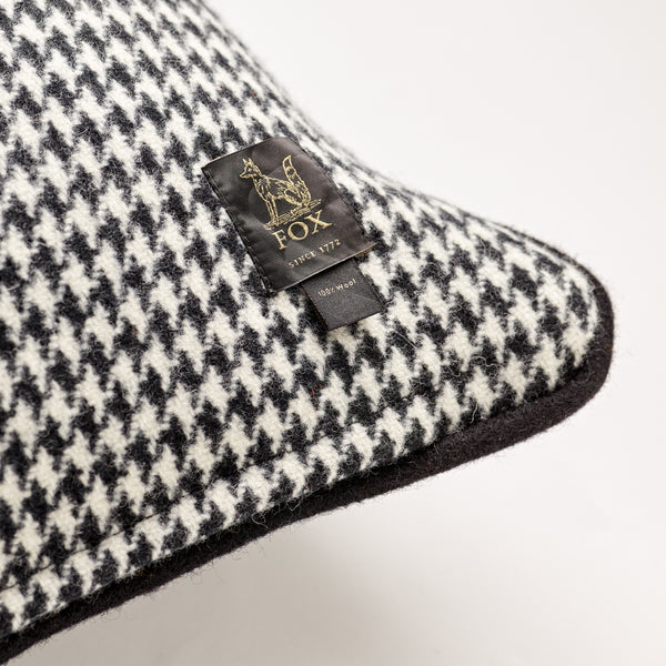 Monochrome Houndstooth with Black Cushion
