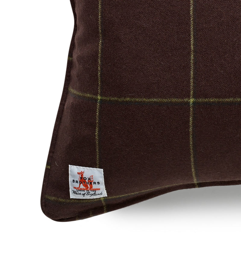 Fox Flannel Alexander Windowpane Cushion in Chocolate