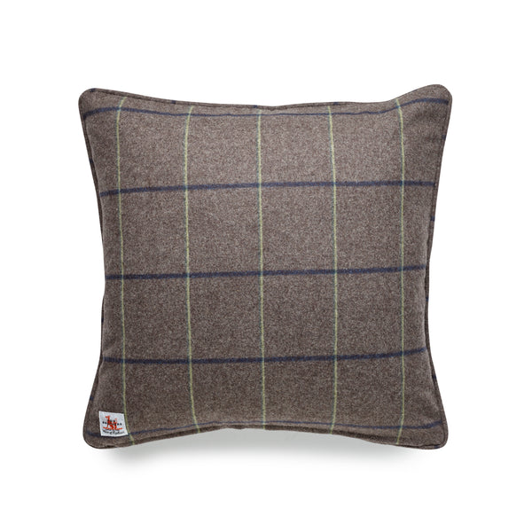 Fox Flannel Alexander Windowpane Cushion in Mid Brown