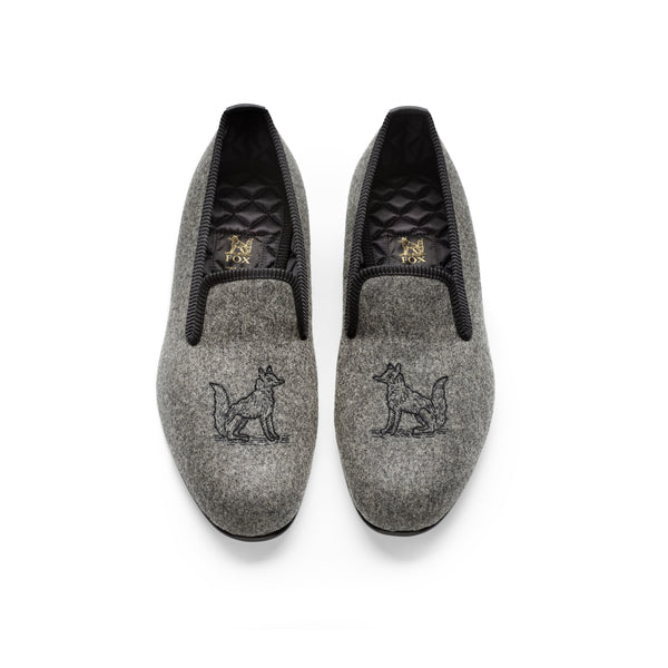 Fox Embroidered Mid Grey Albert Slippers