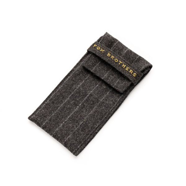 Fox Charcoal Chalk Stripe Glasses Case with Charcoal Lining