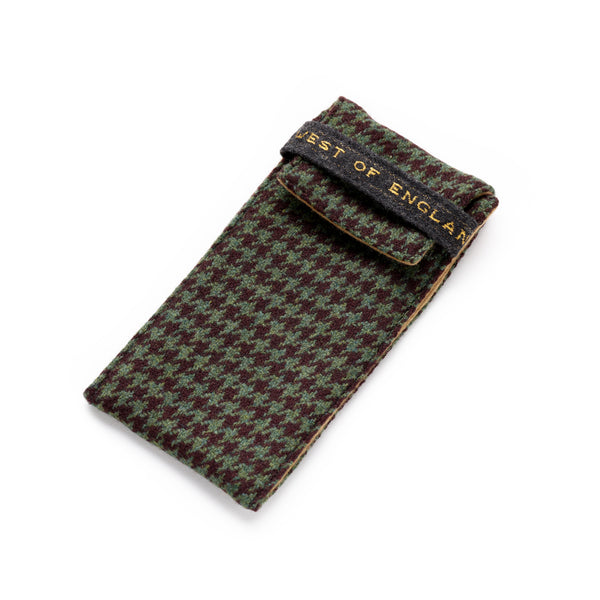 Fox Racing Green and Chocolate Houndstooth Glasses Case with Mocha Lining