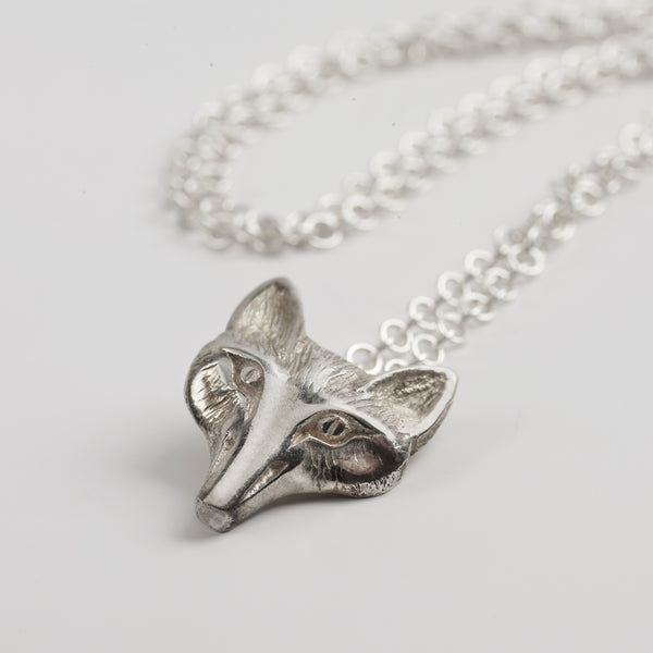 Fox Mask Sterling Silver Pendant