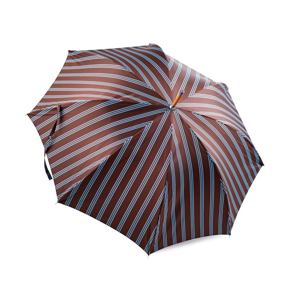 Francesco Maglia Chocolate Brown and Sky Blue Triple Stripe Umbrella