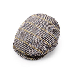 Fox Tweed Cap With Snap Brim In Glen check with Blue and Gold Deco