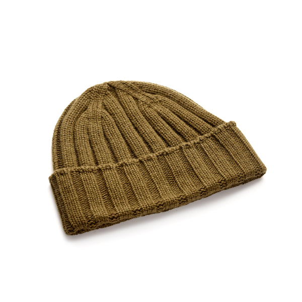Luxury-Khaki-Green-Knitted-Beanie-100%-Cashmere-The -Merchant-Fox